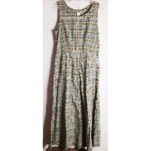 L.L.Bean Maxi- Dress Sleeveless Green Plaid Size 6